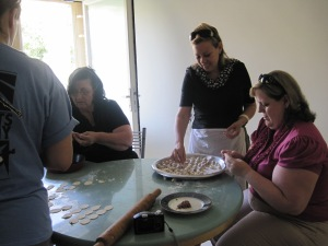 I am making small dumplings with my Friends, Daad Jubran and Kimberly Harvey